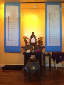 Buddha Birthday altar with banners