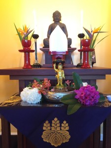Buddhas Birthday altar close up